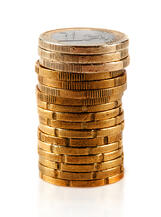 Pile of euro coins - isolated over a white background